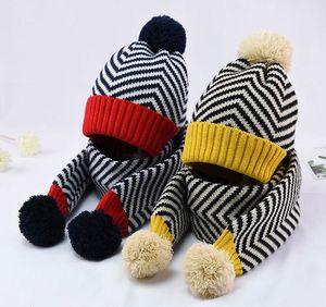 2020 Winter Warm Knit Hat And Scarf Kids Stripe Hat 2 Piece Set Boy Girl Patchwork Ear Protection Cap With Pom Pom Child Scarves