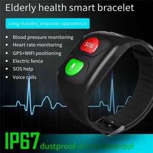 Waterproof SOS Smart Bracelet Blood Pressure Sleep Monitoring GPS Positioning Fitness Tracker for Elderly People
