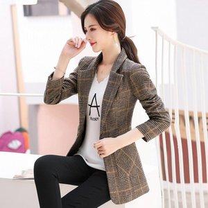 Women's single coat 2020 autumn new casual fashion temperament modified thin lattice single buckle small suit women's shirt
