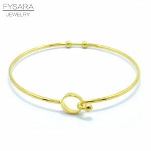 Fysara 3 colori circolari in filo metallico cavo Bracciali espandibile bracciali per le donne gli uomini semplice inossidabile di fascino dei braccialetti del polsino regalo sqcVwN