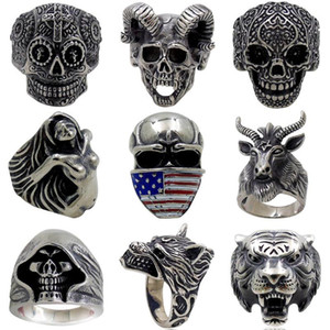 5pcs lot Vintage Gothic Wolf Head Ring Men Skull Ring Punk Jewelry Accessories Demon Satan Goat Skull Rings 001