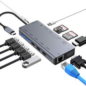 Гуанчжоу Юриопин 13 в 1 типа C адаптер до 3 слотов для чтения карт HD-Mi VGA 2 * USB3.0 USB C HUB CHUB
