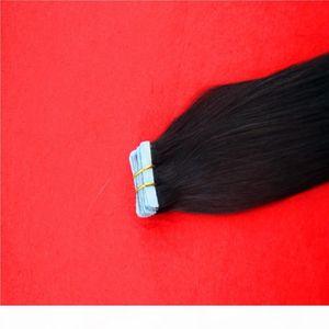 Fita de cor preta em Remy Human Hair Straight Double Thiry Skin Skin Seamless Human Human Extensions 1 PCS 100G