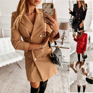 Femmes Office Lady Blazer Robe Casual Collier Notched Collier A-Line Mini Robes Robe Femme Boutons à manches longues Slim Party