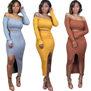Ребристые вязаные набор двух частей набор женщин Slash Sheck Slim Fit Cross Top Split Long юбка набор Sexy 2-х кусок клубных нарядов