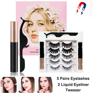 Magnetic Eyelashes with Eyeliner Kit 5 Pairs 3D Magnetic False Eyelashes Natural Look Thick Cross Reusable Lashes with Tweezers No Glue Need