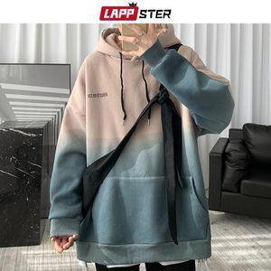 LAPPSTER Men Tie Dye Streetwear Hooded Hoodies 2020 Mens Big Pockets Pockets Hip Hop Sweatshirts Male Korean Fashoins Hoodies