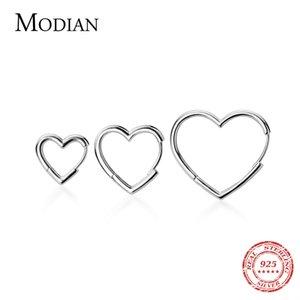 Modian Genuine 925 Sterling Silver Glossy Hearts Hoop Earring for Women Gift Simple Earring Fashion Korea Style Jewelry Bijoux