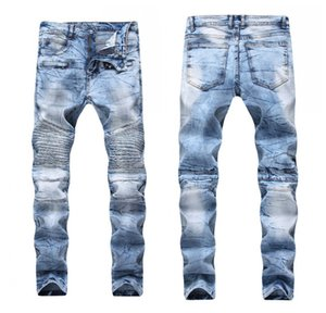 Men's Distressed Ripped Skinny Jeans Fashion Designer Mens Jeans Slim Motorcycle Moto Biker Causal Mens Denim Pants Hip Hop Men Jeans 1799