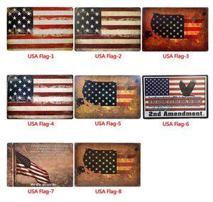 Флаг США жестяных знаки Металл Vintage Плакаты Флаг США Wall Metal Налет Club Стен Главный Бар Живопись Декор стены
