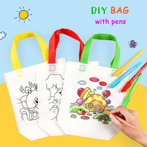 20PCS lot Graffiti Bag DIY Handmade Painting Puzzles for Children Arts Crafts Color Filling Drawing Toy Kindergarten Handbags