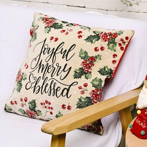4pcs Christmas Pillow Cover Linen Throw Sofa Cushion Case Vintage Decorative Home Living Room Decor 18x18 Inches Pillow Case