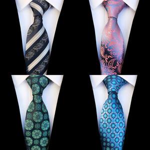 JEMYGINS nuevo diseño de Paisley floral del lazo de seda de los hombres verdes rayado azul corbata de boda de la manera del gradiente de 8 cm Partido Traje corbata