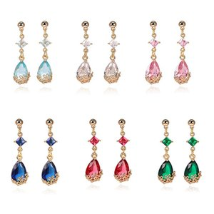 New Design k9 Crystal Glass Drop Earrings Fashion 6 Colors Water Drop Vintage Dangle Earring for Women Girls Jewelry for Party Wedding