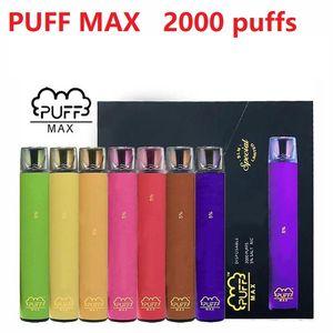 Puff Max одноразовые Vape Pen 2000 Puff 5% 1200mAh 8.5 мл заводской заводской поставку Быстрая доставка E CIG против itee Stick