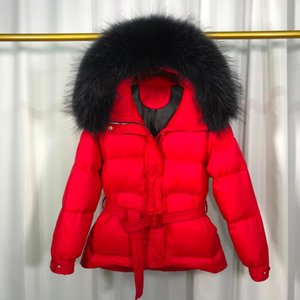 Big Real Raccoon Fur 2020 New Women's Hooded Female Winter White Duck Down Jacket Warm Coat Down Parka Winter Coat Women