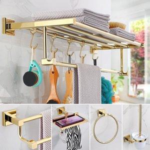 Accesorios de baño Toalla Toalla, soporte de papel Soporte de cepillo de inodoro, Ranger de toalla, Ganchos Material de latón Juego de hardware de baño de oro T200425