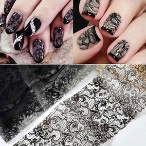 16pcs / lote Lace Transfer Foil Black White Nail Stickers Hollow Flower Sliders Transparent Decals Wraps Nail Art Decoration Set