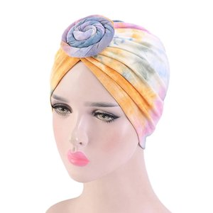 Fashion Tie-Dye Knot Turban for Women Muslim Ladies Headwrap Floral Bandana Cap