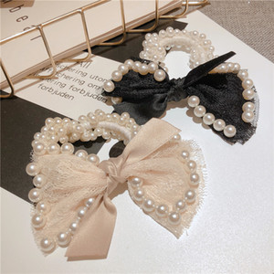 Fur soft hairbands Elastic Hair Ties Rubber Bands Adult Pearl Bow Knot Fashion Scrunchies Girl Accessories 8 styles