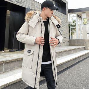 -30 градусов Пара Зимняя белая утка вниз куртка Long Keep Warm сгущает пальто способа людей с капюшоном меховой воротник Ветровка Вниз Parka 201104