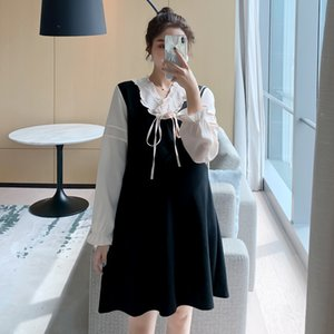 Sonbahar Moda Hamile Kadınlar Hamile A-Line Dress Plus Size V-Boyun Beyaz Patchwork Siyah Gebelik Giyim Uzun kollu