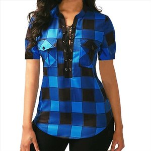 Women Plaid Blouse Shirts Top Causal Short Sleeve V Neck Shirt Sexy Bandage Pockets Plus Size 5Xl 2021 Mujer Blusas Office Lady