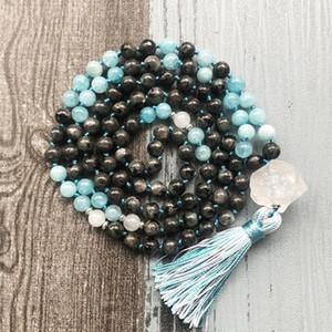 Schwarz Labradorit Blue Stone geknotete Mala Ketten 108 Prayer Raw Q-uartz Heilstein Mix Farbe Troddel-Halskette