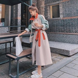 2021 Новая Элегантная Длинная Требовое пальто Женщины Весна осень Тонкая плюс Размер Передвижной Женщина Корейский Свободный Цвет Соответствующая Ветровка с поясом Y568 3T
