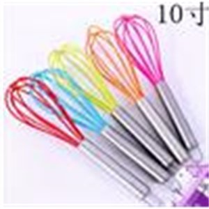 """10"""" SILICONE COATED EGG WHISK EGGBEATER STAINLESS STEEL HANDLE KITCHEN GADGET"""