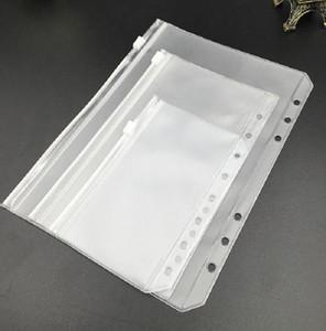 노트북 용 A6 지우기 구멍 뚫은 바인더 포켓 6 개 구멍 PVC 젖 빛 노트북 포켓이 문서 저장 폴더를 구성 지퍼 느슨한 잎 가방