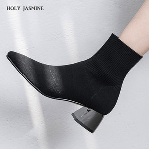 NEW Wool Women Boots 2020 Autumn and Winter Skinny Boots Slim Short Wool Barrel Pointed Toe Square Heel High (5cm-8cm) TPR