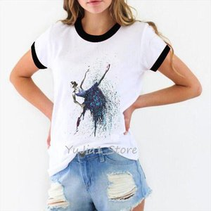 ropa mujer 2020 watercolor Ballet Girl tshirt women vogue vintage t shirt camiseta mujer kawaii clothes white female t shirt top
