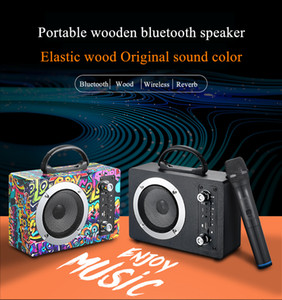 M10 20W Holz Bluetooth Lautsprecher Wireless Subwoofer Portable Outdoor Wireless k Songkarte U Disk Radio Audio mit Mikrofon