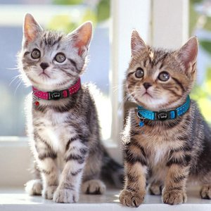4 unids / lote Safety Breakaway Cat Gitten Collars Nylon Reflective Safety Colllar para gatos pequeños con Bell Mixed WMTQBJ