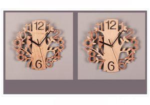나무 조류 벽시계 더블 스테레오 패션 원형 나무 곡물 벽 시계 거실 침실 경계선없는 홈 인테리어 YYF4462