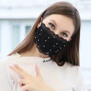 Fashion Face Mask Pearl кружева маска для взрослых Регулируемая пыле дышащий Тонкий Milk Silk Mask 4 цвета ш-00350