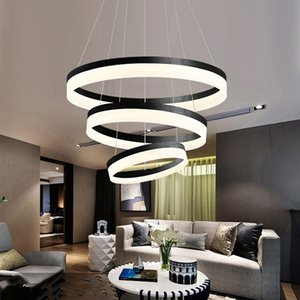 Nordic LED dining room light simple modern lampshade chandelier personality black aluminum round dining room light bar table lighting