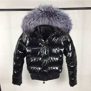Fashion Winter Jacket Women Big Fur Hooded Down Parkas Glossy Female Jacket short Outwear Winter Waterproof Coat Woman New 201017