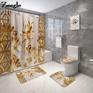 Floral Bath Mat and Shower Curtain Set Flannel Toilet Seat Cover Mat Bathroom Carpet Non-slip BAthroom Floor1