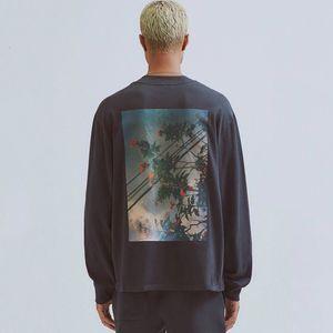 of 19FW FOG Fear God ESSENTIALS Floral Photo Printed Long Sleeve Pullover Sweatshirt Crewneck T-shirt Sweater Street Hoodies Tee HFYMWY266