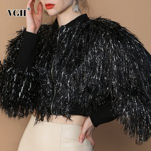 VGH Patchwork Tassel Streetwear Jacket For Women Stand Collar Long Sleeve Casual Short Coat Female Fashion New Clothing 2020 Y1112