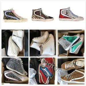 Golden Slide Star High Shoe High Shoe Star Star Baskets Italie Deluxe Marque Classique Blanc Blanc Dirty Goose Designer Man Chaussures