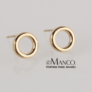 e-Manco Ladies Small Round Safety Pin Earrings women Stainless Steel Earrings Trending Ear Ring Studs Jewelry Y200323
