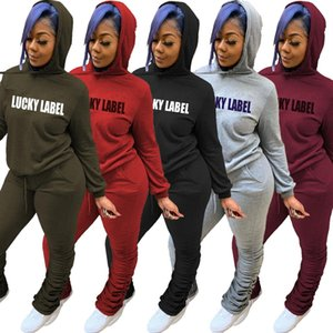Women Tracksuit two Piece Set fashion Hooded Cardigan Outfits Letter printing long Sleeve pleated Pant Ladies Casual Solid Sports Suits
