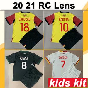20 21 RC Lente Kit Kit de Futebol Jerseys Kakuta Fofana Sotoca Home Away 3ª Camisa Football Ganago Medina Jean Cahuzac Perez Child Manga Curta