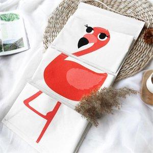 Desenhos animados Quarto Sundries parede Organizador Banho Para E saco pendurado Porta Algodão 1 Escritório linho Pockets Pc Flamingo armazenamento bbysTO wrhome