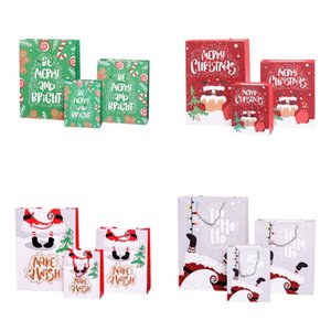 Paper Christmas Gift Bag Cartoon Printed Merry Christmas Shopping Gift Bag Jewellery Cosmetic Stuff Bag with Handle S M L EWA1109