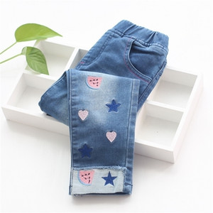 New Fashion Girls Embroidery Denim Jeans Baby Soft Cotton Jeans Kids Spring Autumn Casual Trousers Child Elastic Waist Pants 201209