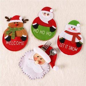 Santa Claus Snowman Deer Knife Fork Skirt Christmas Cutlery Cover Xmas Spoon Pocket Table Decoration